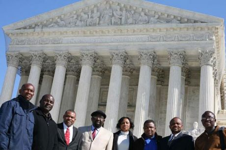 Members of the Ogoni community outside of the Supreme Court, February 28, 2012. Esther Kiobel, center. Photo: Erica Razook