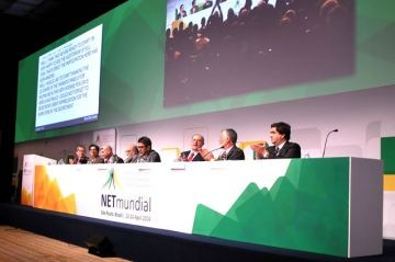Closing NETmundial 2014, chairs of the Executive Multistakeholder Committee and chairs of the High Level Multistakeholder Committee present the event's final document that incorporates a balance of the considerations presented by all stakeholders.