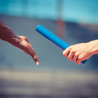 Baton being handed